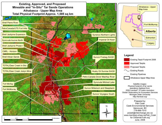 Mineable Tar Sands Region-- Existing, Approved, and Proposed Projects